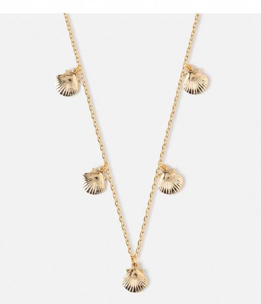 Orelia Ketting Mini Shell Drop Charm Necklace pale gold (ORE24033)
