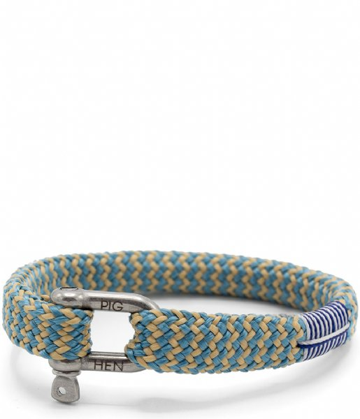 Pig and Hen Armband Sharp Simon Bracelet Large 20 cm sky blue sand and silver colored (161202)