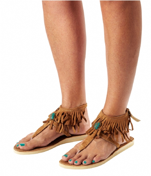 Pretty Hot And Tempting Slippers Flipflops Suede Fringes tan suede fringes (18208)