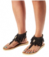 Pretty Hot And Tempting Flipflops Suede Fringes black suede fringes (18210)