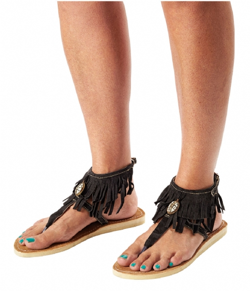 Pretty Hot And Tempting Slippers Flipflops Suede Fringes black suede fringes (18210)