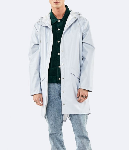 Rains Regenjas Long Jacket metallic ice grey (96)