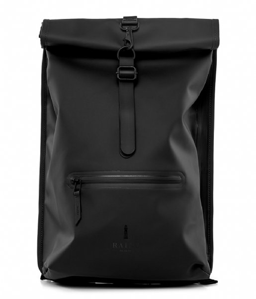 Rains Dagrugzak Roll Top Rucksack black (01)