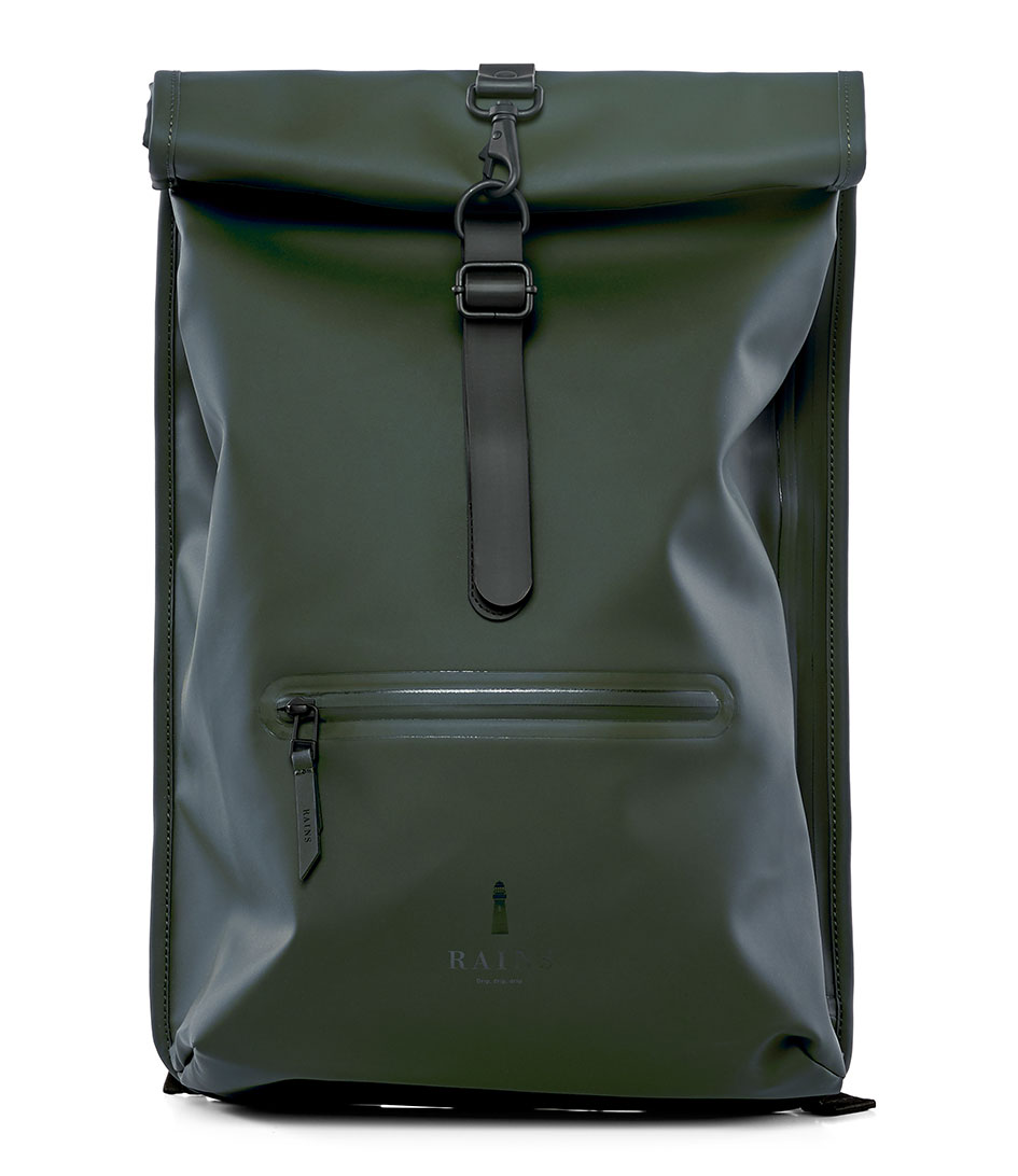 Roll Top Rucksack Green 03 Rains The Little Green Bag