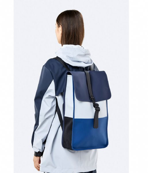 Rains Laptop rugzak Color Block Backpack 15 Inch blue ice grey