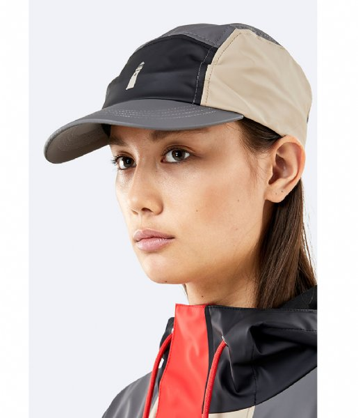 Rains Hoed - cap Color Block Dad Cap black beige