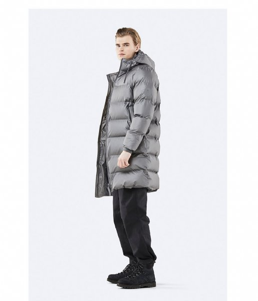 Rains Winterjas Long Puffer Jacket metallic charcoal (15)