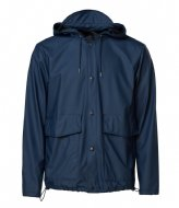 Rains Short Hooded Coat 02 Blue