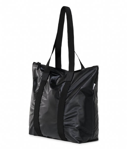 Rains Strandtas Tote Bag Rush Shiny Black (76)