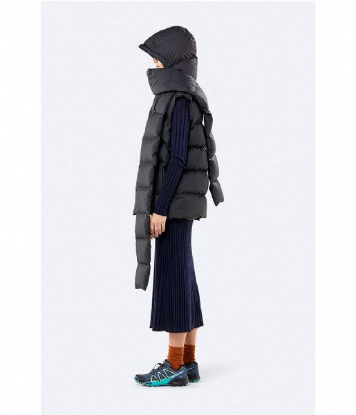 Rains Sjaal Puffer Hooded Scarf black (01)