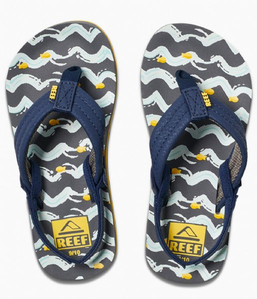 Reef Slippers Little Ahi navy yellow fish