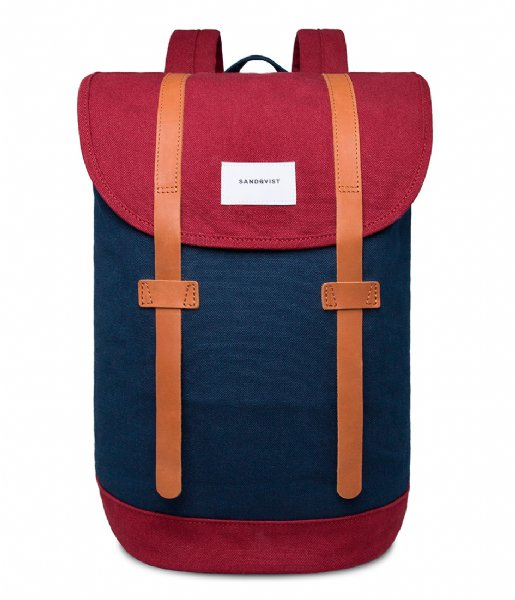 Sandqvist Laptop rugzak Backpack Stig 13 Inch multi blue burgundy (1020)
