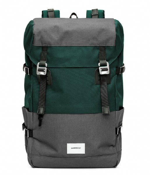 Sandqvist Laptop rugzak Harald 13 Inch multi deep green dark grey (1043)
