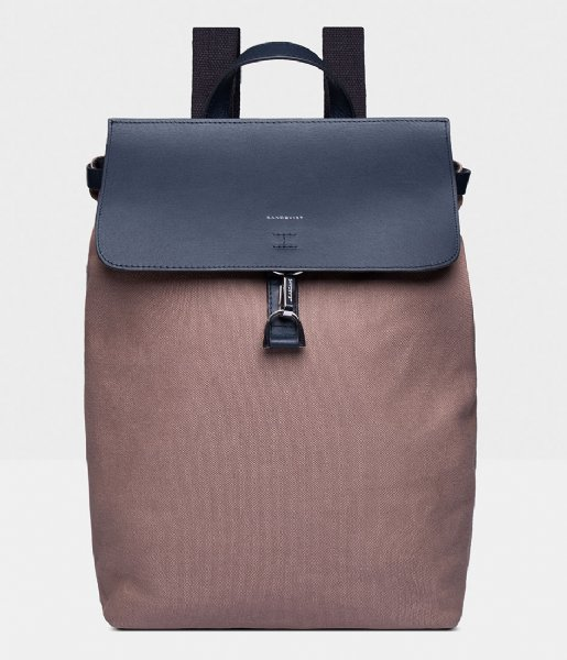 Sandqvist Laptop rugzak Alva Metal Hook 13 Inch earth brown with navy leather (1225)
