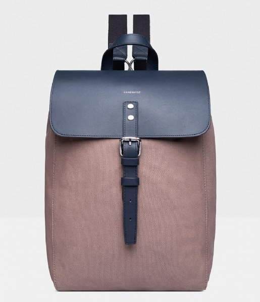 Sandqvist Laptop rugzak Alva 13 Inch earth brown with navy leather (1221)