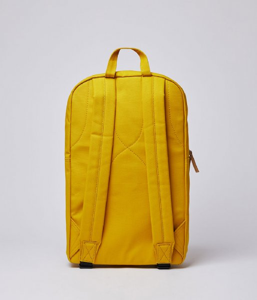 Sandqvist Laptop rugzak Backpack Kim 15 Inch yellow with natural leather (1248)