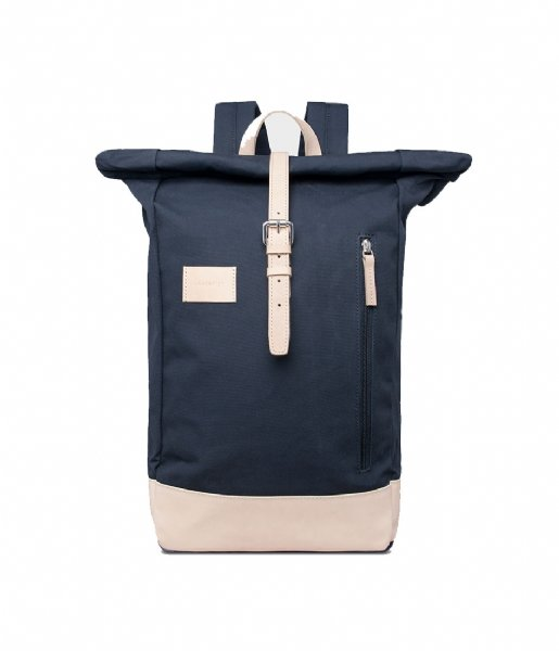Sandqvist Laptop rugzak Dante Grand Laptop Backpack navy with natural leather (1082)