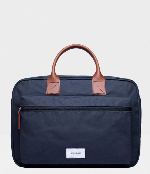 Sandqvist Laptop schoudertas Emil 15 Inch navy with cognac brown leather (1245)