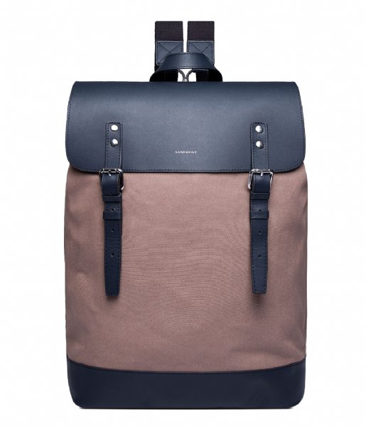 Sandqvist Laptop rugzak Hege earth brown with navy leather (1227)