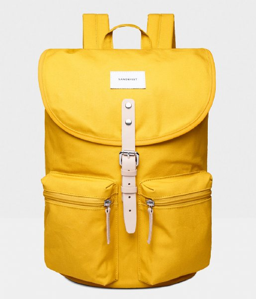 Sandqvist Dagrugzak Roald 15 Inch yellow with natural leather (1254)