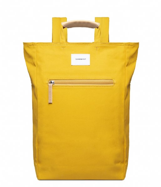Sandqvist Laptop rugzak Tony 13 Inch yellow with natural leather (1259)