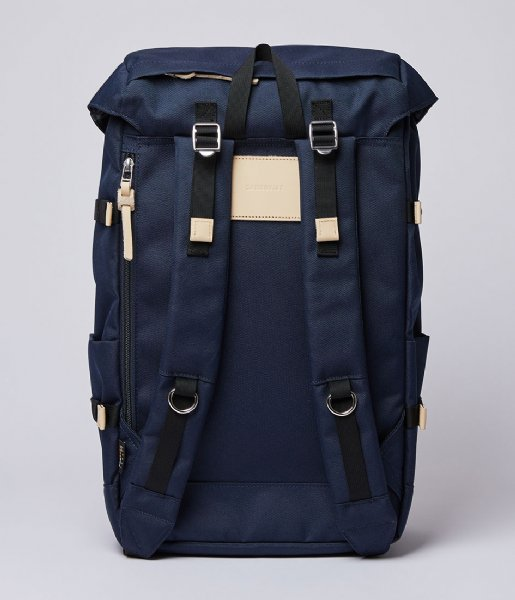 Sandqvist Laptop rugzak Harald 15 Inch navy with natural leather (1376)