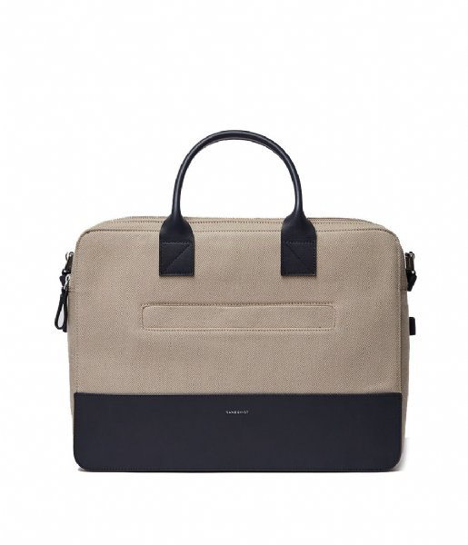 Sandqvist Laptop schoudertas Seth 15 Inch beige twill with navy leather (1324)