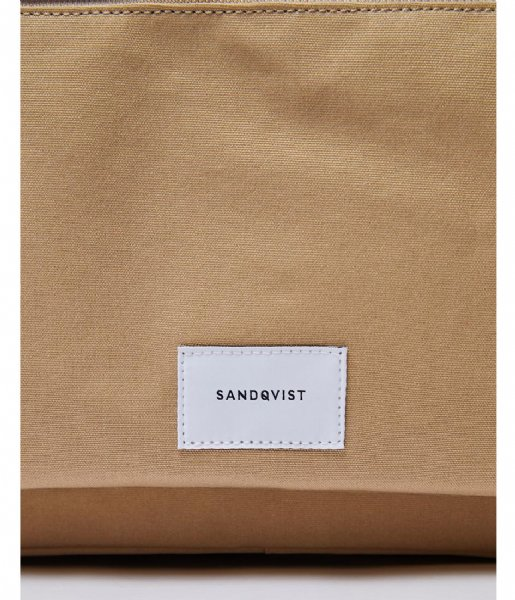 Sandqvist Laptop schoudertas Emil 15 Inch beige with natural leather (1242)