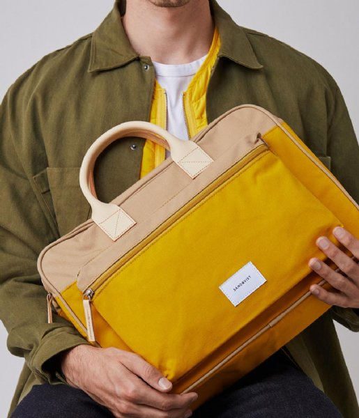 Sandqvist Laptop schoudertas Emil 15 Inch multi yellow natural leather (1244)