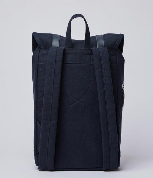 Sandqvist Laptop rugzak Stig 15 Inch navy with navy leather (1364)