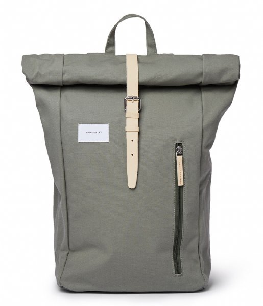 Sandqvist Laptop rugzak Dante 15 Inch Dusty green with natural leather (SQA1577) Q3-20