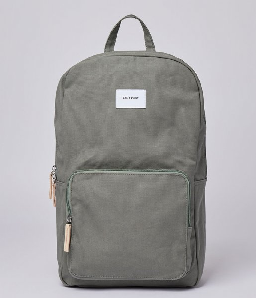Sandqvist Laptop rugzak Kim 15 Inch Dusty green with natural leather (SQA1664) Q3-20