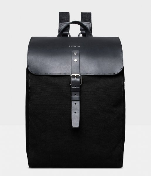 Sandqvist Laptop rugzak Alva 13 Inch black with black leather (503)