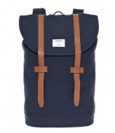 Sandqvist Backpack Stig blue with cognac brown leather (969)