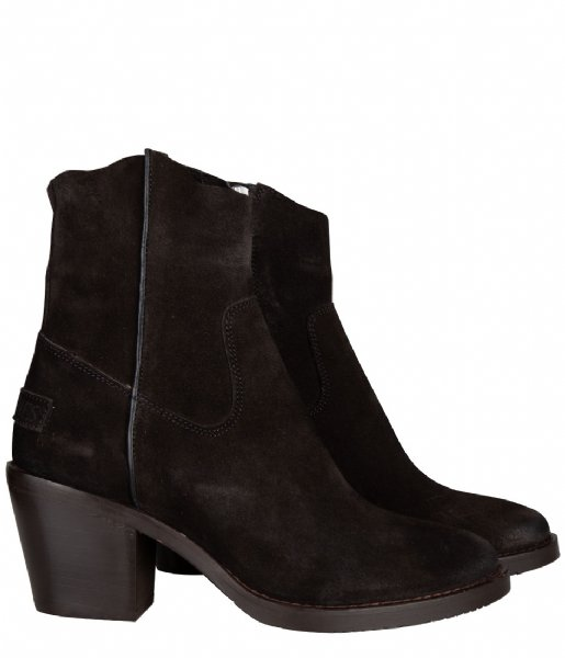Shabbies Cowboylaars Ankle Boot 7 Cm With Zipper Nubuck black