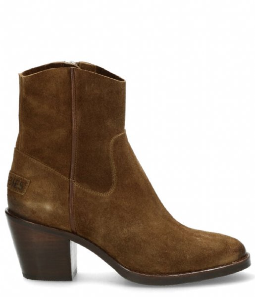 Shabbies Cowboylaars Ankle Boot 7 Cm With Zipper Nubuck warm brown
