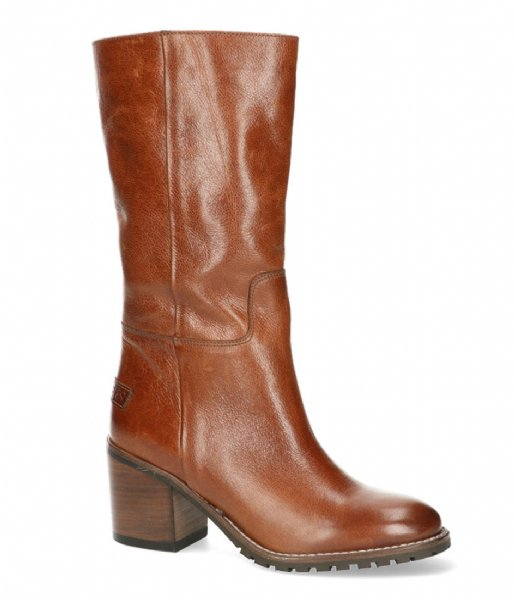 Shabbies Laars Boot Shiny Grain Leather Cognac