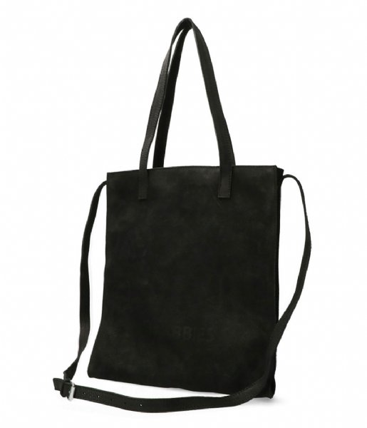 Shabbies Handtas Shopper L Waxed Grain Leather Black