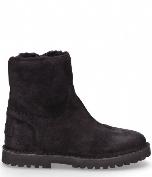 Shabbies Snowboot Ankle Boot Wool Lining Waxed Suede black