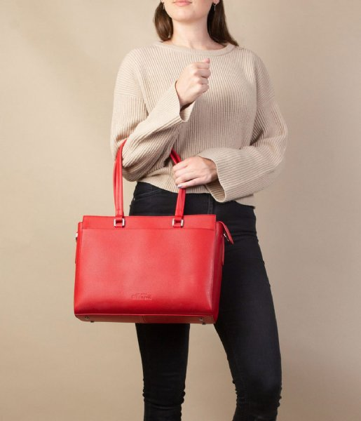 The Little Green Bag Crossbodytas Maple Laptop Tote 13 Inch red