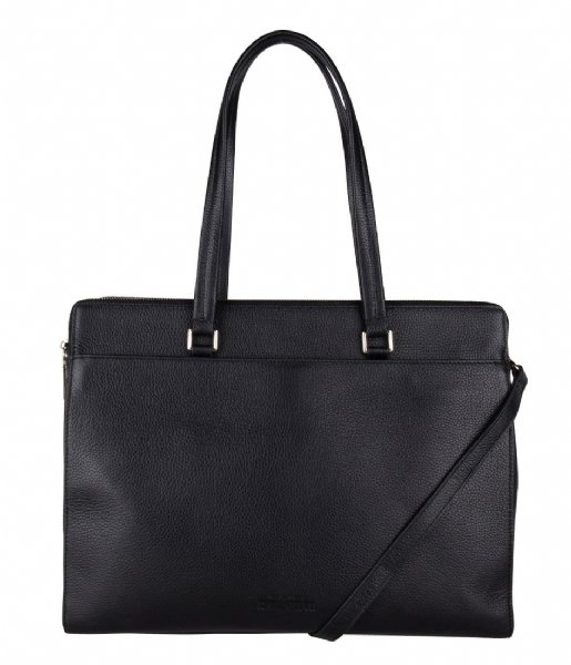 The Little Green Bag Schoudertas Lorelei Laptop Tote 15.6 Inch black