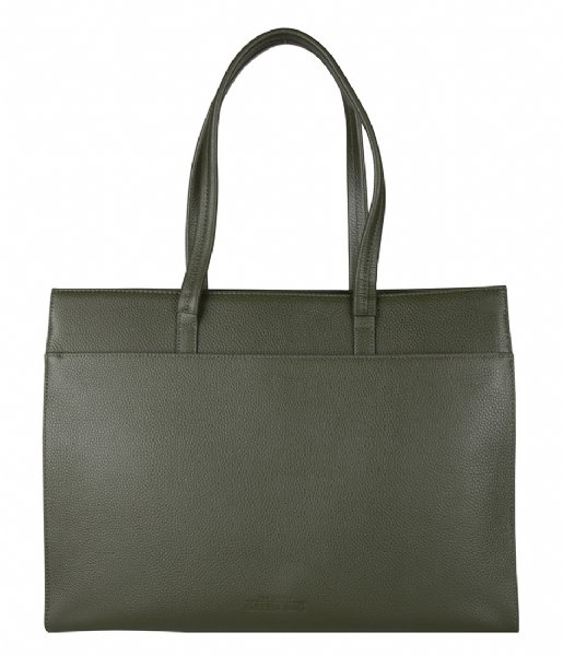The Little Green Bag Laptop schoudertas Cassia Tote 15.6 Inch olive