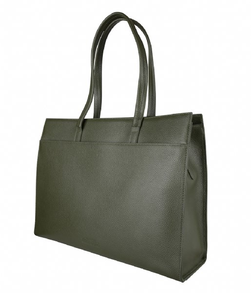 The Little Green Bag Laptop schoudertas Cassia Laptop Tote 15.6 Inch olive