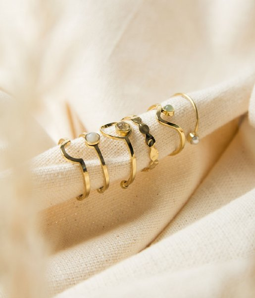 The Little Green Bag Ring Moon Ring X My Jewellery gold