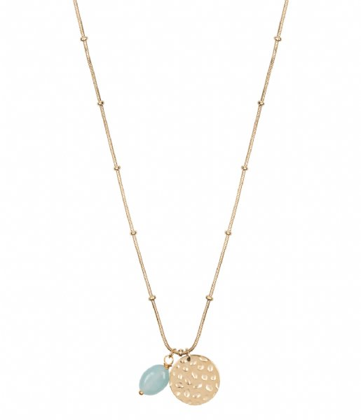 The Little Green Bag Ketting Coin With Amazonite Gem Necklace X My Jewellery gold colored