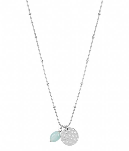 The Little Green Bag Ketting Coin With Amazonite Gem Necklace X My Jewellery silver colored