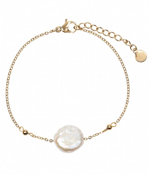 The Little Green Bag Armband Flat Freshwater Pearl Bracelet X My Jewellery gold colored