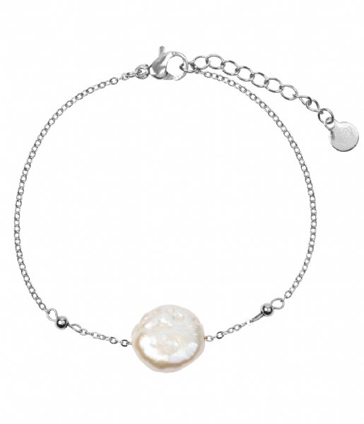 The Little Green Bag Armband Flat Freshwater Pearl Bracelet X My Jewellery silver colored
