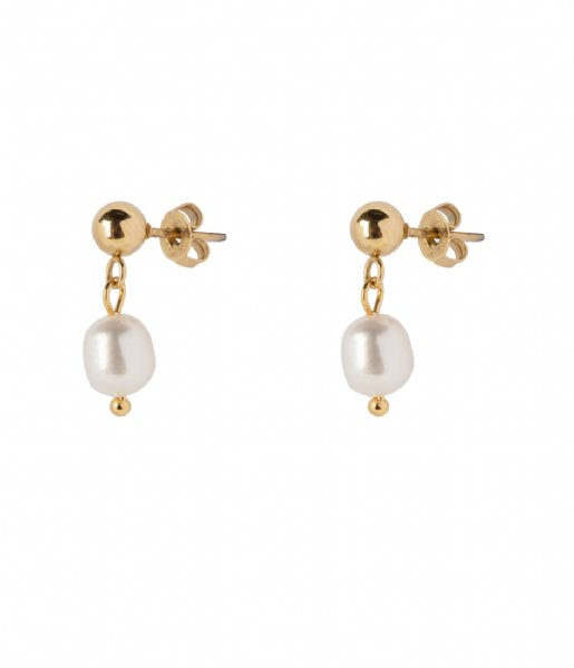 The Little Green Bag Oorbellen Freshwater Pearl Studs X My Jewellery gold colored