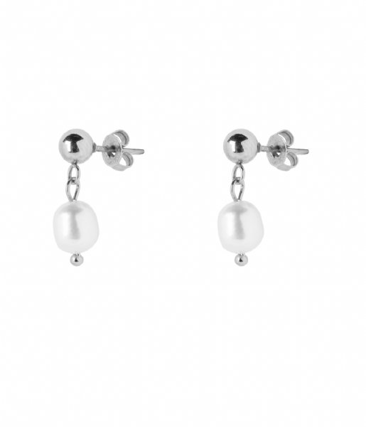 The Little Green Bag Oorbellen Freshwater Pearl Studs X My Jewellery silver colored